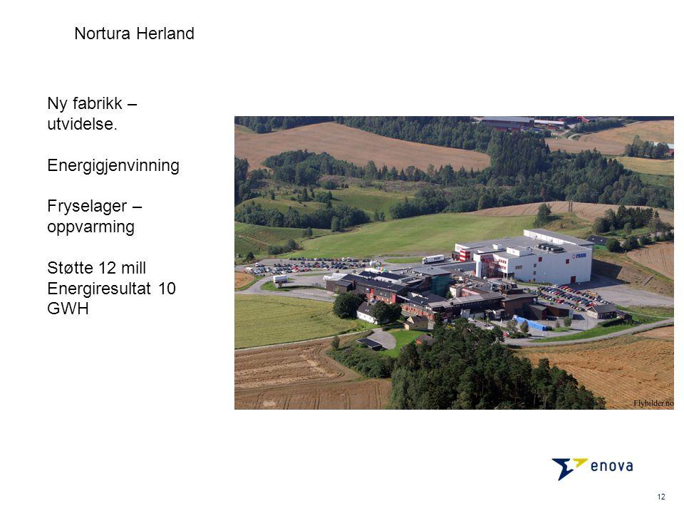 12 Nortura Herland Ny fabrikk – utvidelse. Energigjenvinning Fryselager – oppvarming Støtte 12 mill Energiresultat 10 GWH