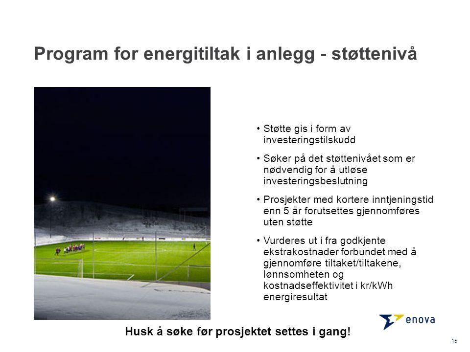 Program for energitiltak i anlegg - støttenivå •Støtte gis i form av investeringstilskudd •Søker på det støttenivået som er nødvendig for å utløse inv