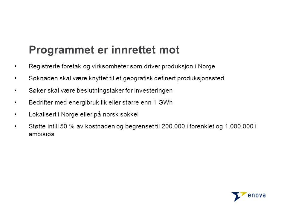 Programmet er innrettet mot •Registrerte foretak og virksomheter som driver produksjon i Norge •Søknaden skal være knyttet til et geografisk definert