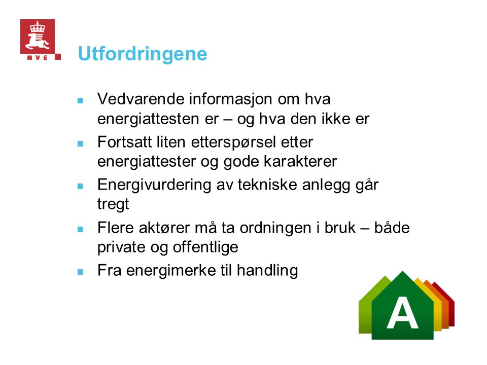 Status for energimerkeordningen for bygninger Februar 2012