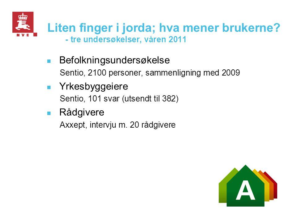 Liten finger i jorda; hva mener brukerne? - tre undersøkelser, våren 2011  Befolkningsundersøkelse Sentio, 2100 personer, sammenligning med 2009  Yr