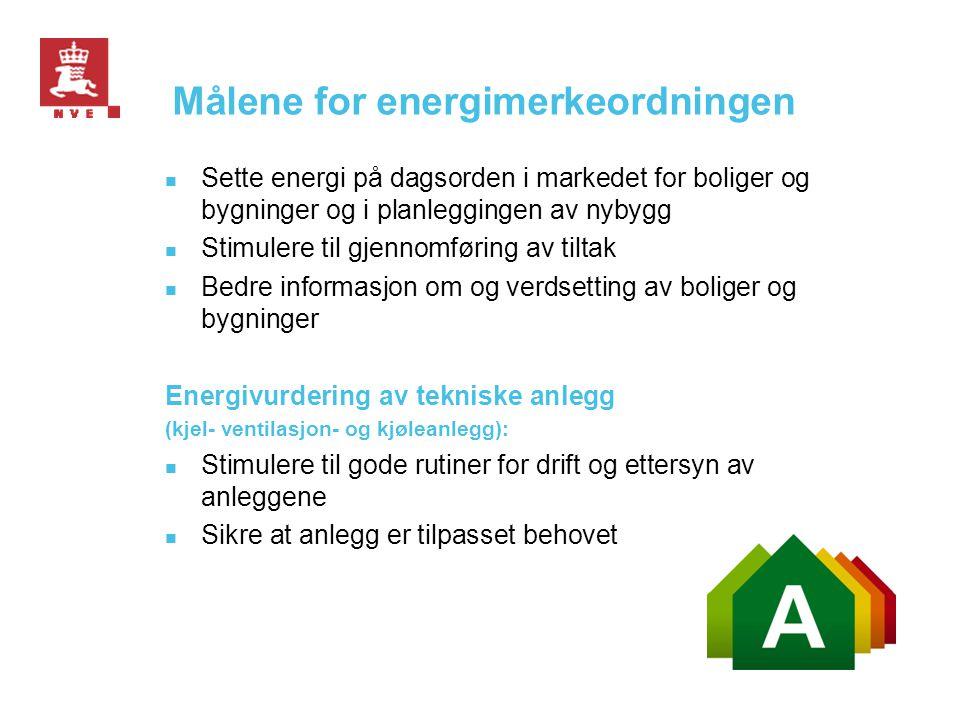 Målene for energimerkeordningen  Sette energi på dagsorden i markedet for boliger og bygninger og i planleggingen av nybygg  Stimulere til gjennomfø