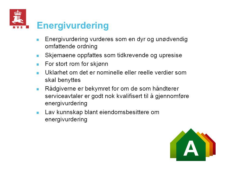 Energivurdering  Energivurdering vurderes som en dyr og unødvendig omfattende ordning  Skjemaene oppfattes som tidkrevende og upresise  For stort r