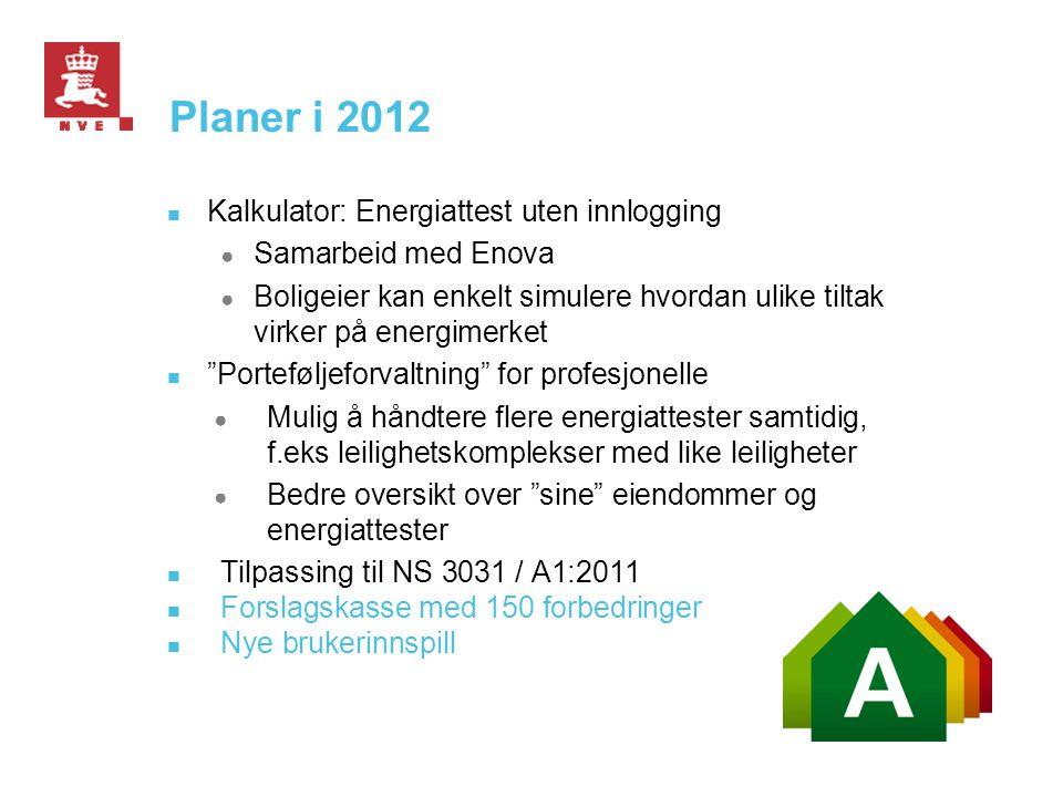 Planer i 2012  Kalkulator: Energiattest uten innlogging ● Samarbeid med Enova ● Boligeier kan enkelt simulere hvordan ulike tiltak virker på energime