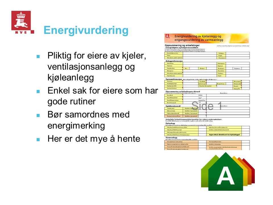 Energivurdering  Pliktig for eiere av kjeler, ventilasjonsanlegg og kjøleanlegg  Enkel sak for eiere som har gode rutiner  Bør samordnes med energi