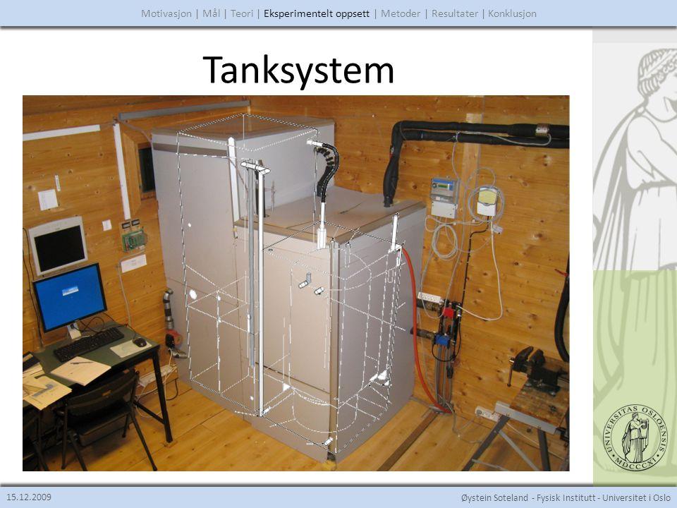 Øystein Soteland - Fysisk Institutt - Universitet i Oslo Tanksystem 15.12.2009 Motivasjon | Mål | Teori | Eksperimentelt oppsett | Metoder | Resultater | Konklusjon