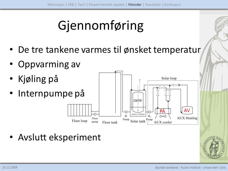 Øystein Soteland - Fysisk Institutt - Universitet i Oslo Gjennomføring 15.12.2009 Motivasjon | Mål | Teori | Eksperimentelt oppsett | Metoder | Resultater | Konklusjon PÅ AV PÅ • De tre tankene varmes til ønsket temperatur • Oppvarming av • Kjøling på • Internpumpe på • Avslutt eksperiment