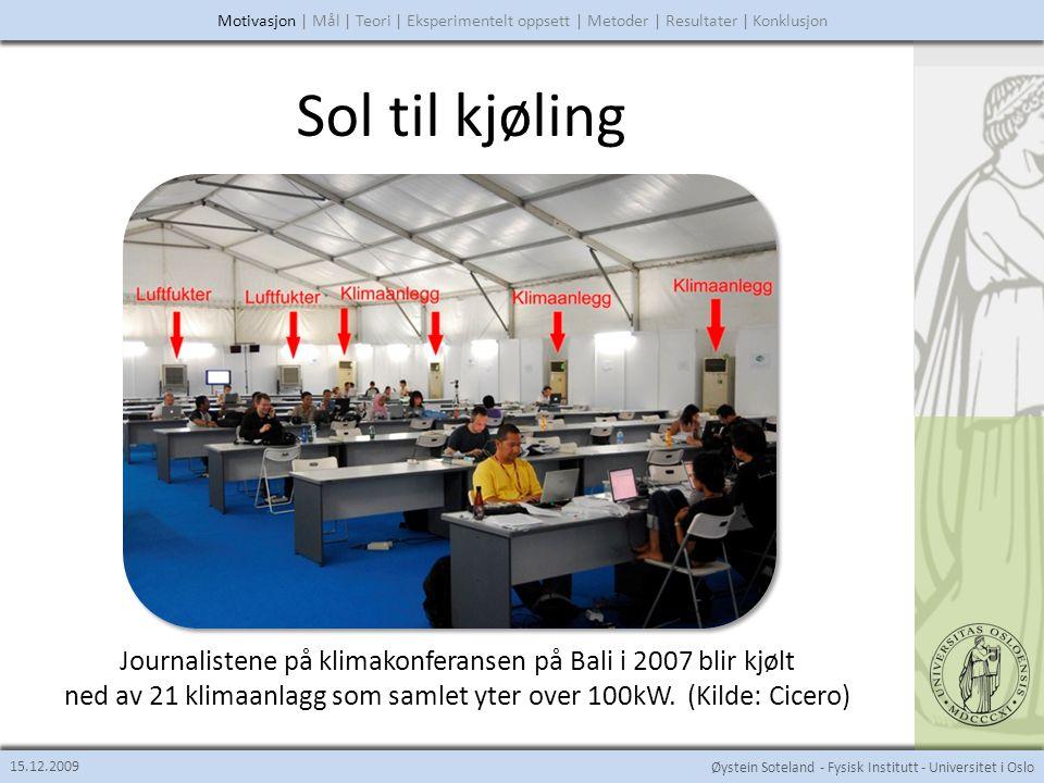 Øystein Soteland - Fysisk Institutt - Universitet i Oslo Sol til kjøling 15.12.2009 (Mis)bruk av klimaanlegg Singapore Buenos Aires Malaysia Motivasjon | Mål | Teori | Eksperimentelt oppsett | Metoder | Resultater | Konklusjon