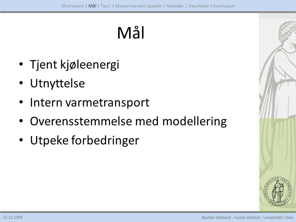 Øystein Soteland - Fysisk Institutt - Universitet i Oslo Teori 15.12.2009 Motivasjon | Mål | Teori | Eksperimentelt oppsett | Metoder | Resultater | Konklusjon