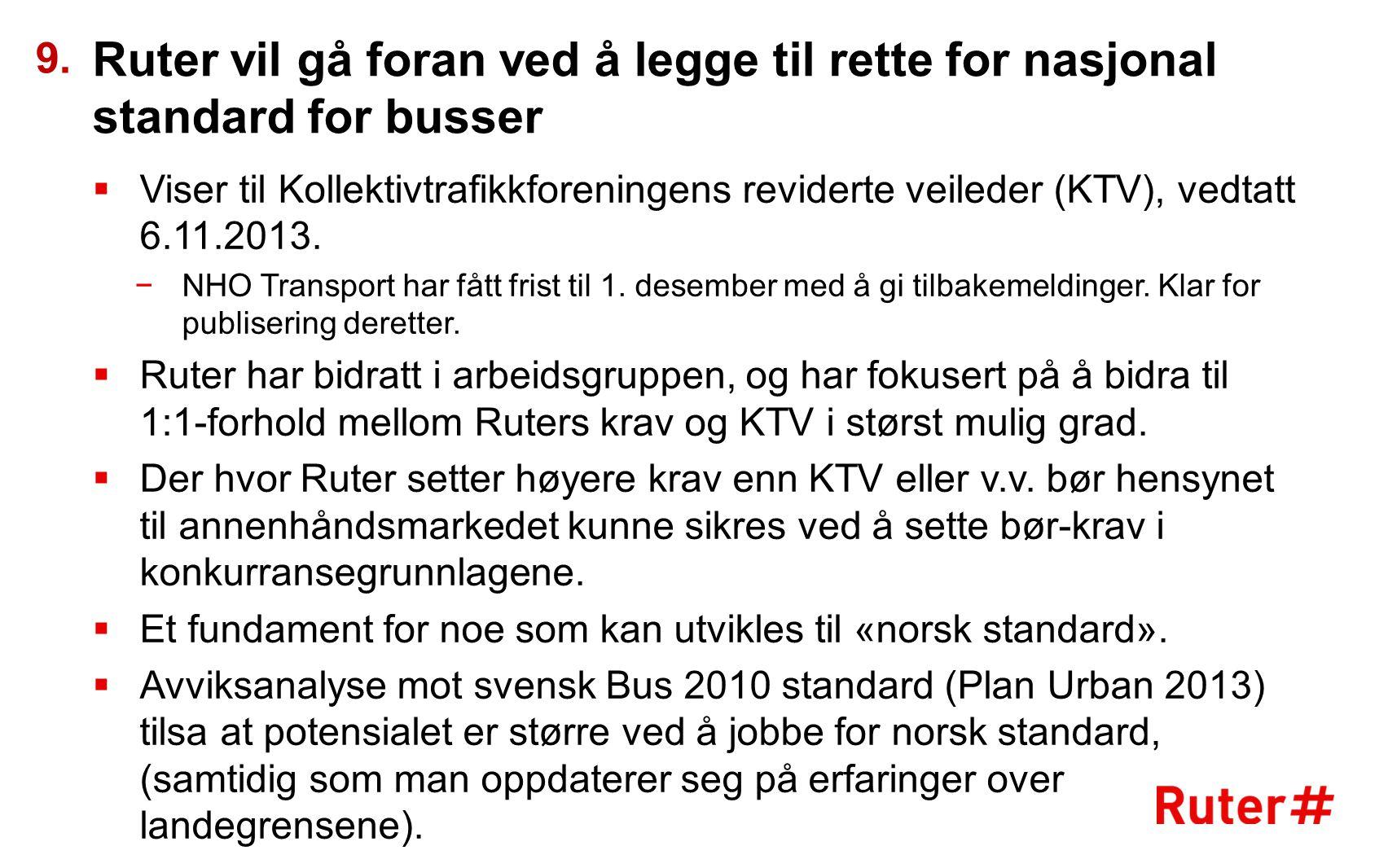 Ruter vil gå foran ved å legge til rette for nasjonal standard for busser  Viser til Kollektivtrafikkforeningens reviderte veileder (KTV), vedtatt 6.