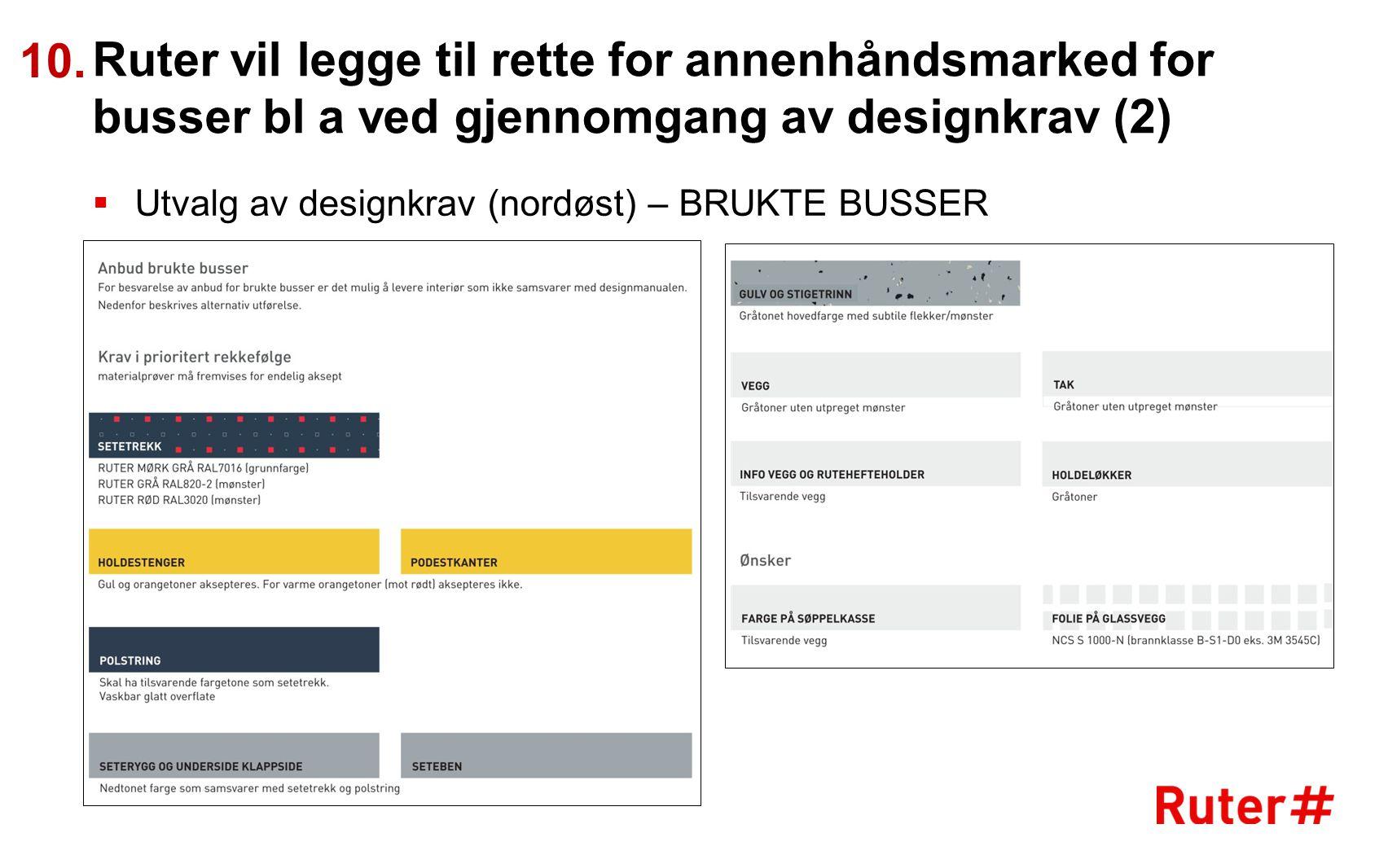 Ruter vil legge til rette for annenhåndsmarked for busser bl a ved gjennomgang av designkrav (2)  Utvalg av designkrav (nordøst) – BRUKTE BUSSER 10.