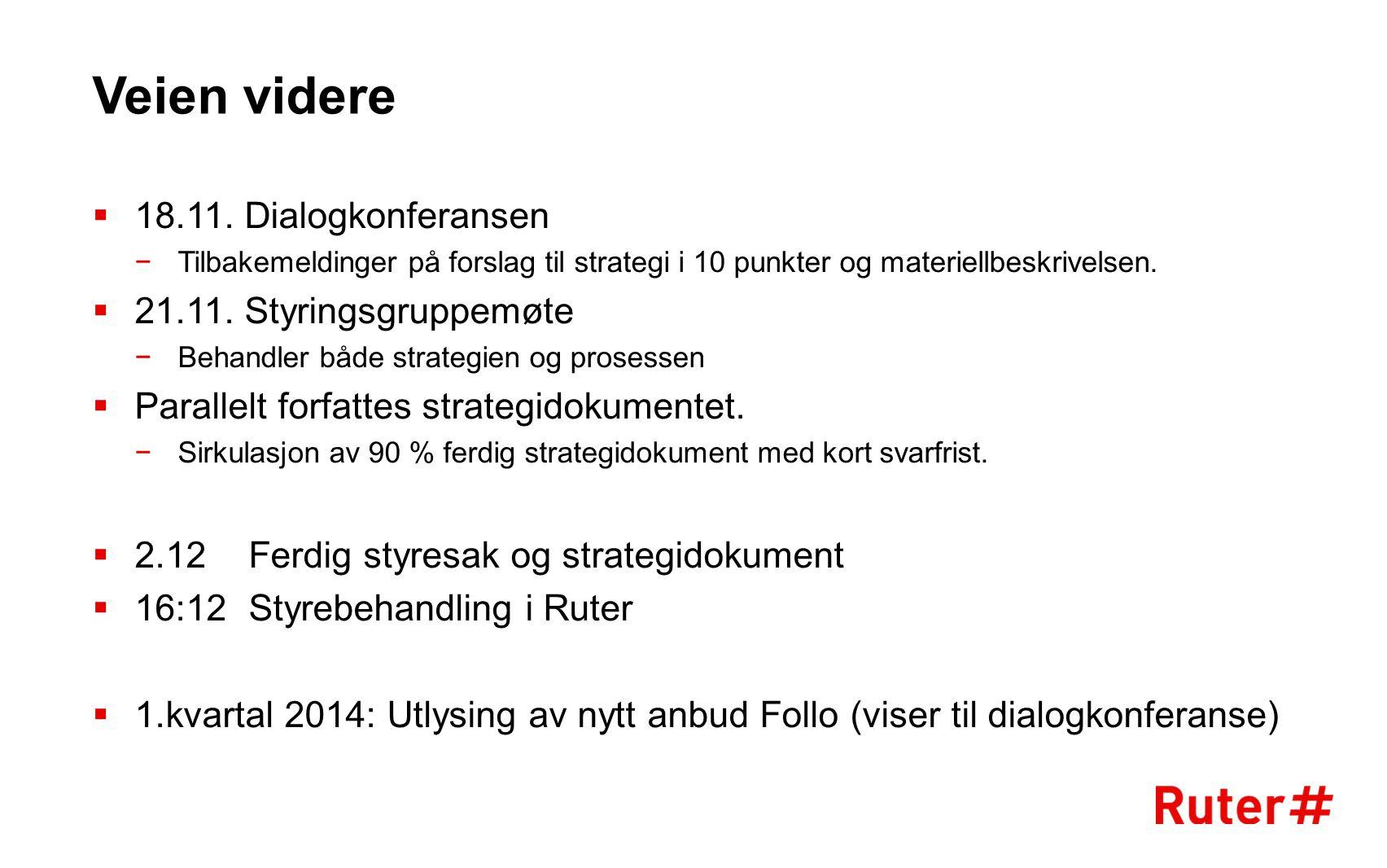 Veien videre  18.11. Dialogkonferansen −Tilbakemeldinger på forslag til strategi i 10 punkter og materiellbeskrivelsen.  21.11. Styringsgruppemøte −