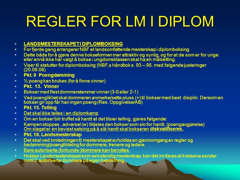 REGLER FOR LM I DIPLOM •LANDSMESTERSKAPET I DIPLOMBOKSING •For fjerde gang arrangerer NBF et landsomfattende mesterskap i diplomboksing. •Dette både f