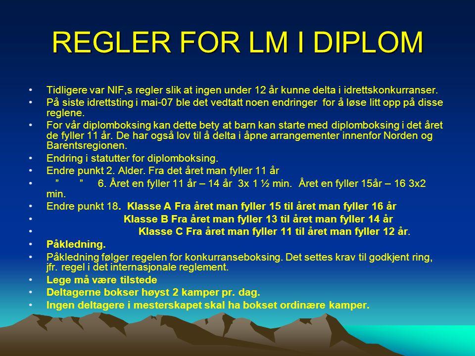 REGLER FOR LM I DIPLOM •Tidligere var NIF,s regler slik at ingen under 12 år kunne delta i idrettskonkurranser. •På siste idrettsting i mai-07 ble det