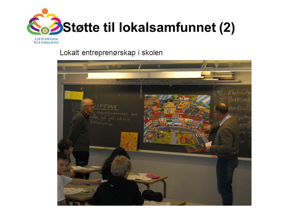 Støtte til lokalsamfunnet (2) Lytt til ditt hjerte for å hjelpe andre Lokalt entreprenørskap i skolen