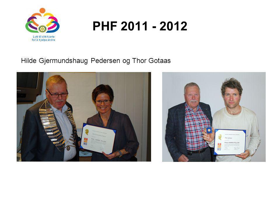 PHF 2011 - 2012 Lytt til ditt hjerte for å hjelpe andre Hilde Gjermundshaug Pedersen og Thor Gotaas