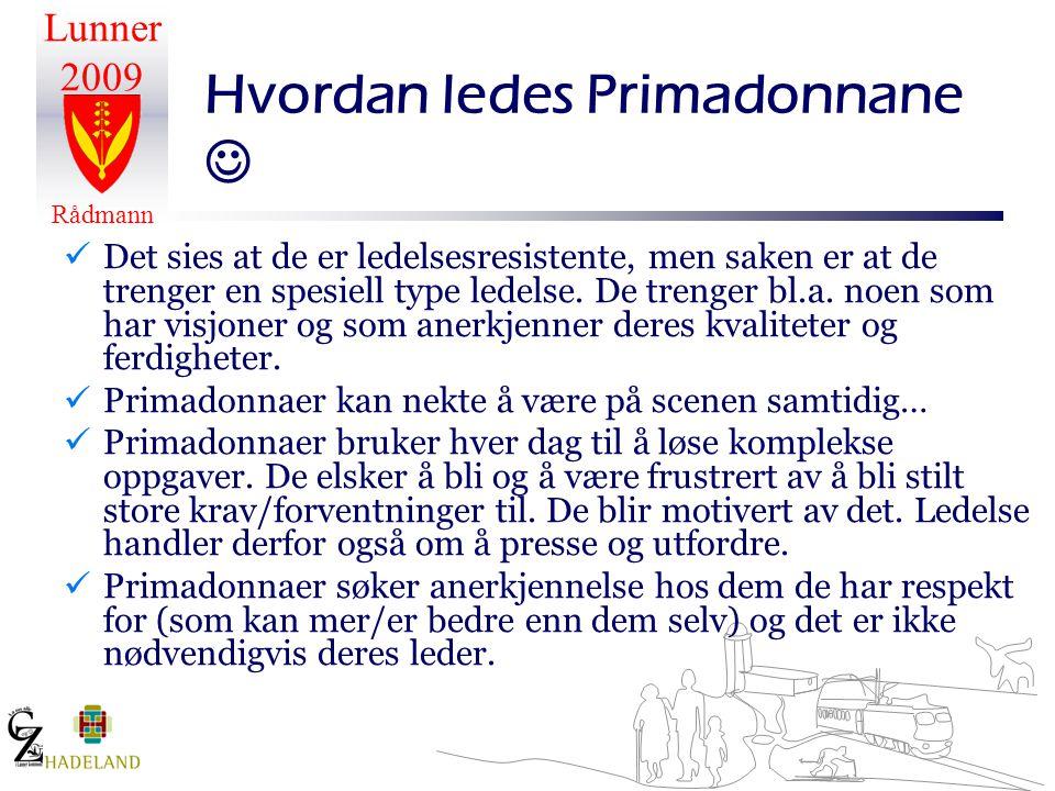 Lunner 2009 Rådmann Hvordan ledes Primadonnane   Det sies at de er ledelsesresistente, men saken er at de trenger en spesiell type ledelse. De treng
