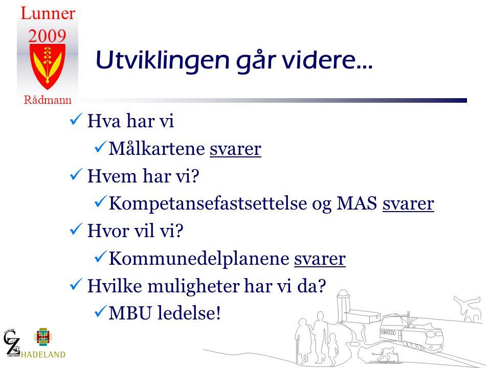 Lunner 2009 Rådmann Utviklingen går videre…  Hva har vi  Målkartene svarer  Hvem har vi?  Kompetansefastsettelse og MAS svarer  Hvor vil vi?  Ko