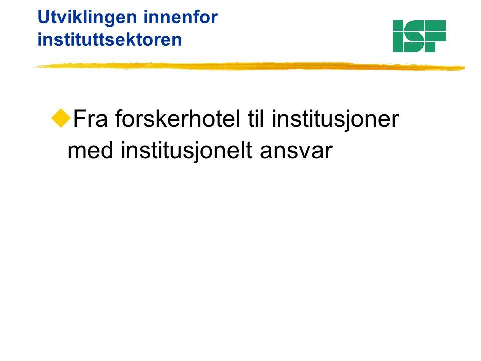 Utviklingen innenfor instituttsektoren uFra forskerhotel til institusjoner med institusjonelt ansvar