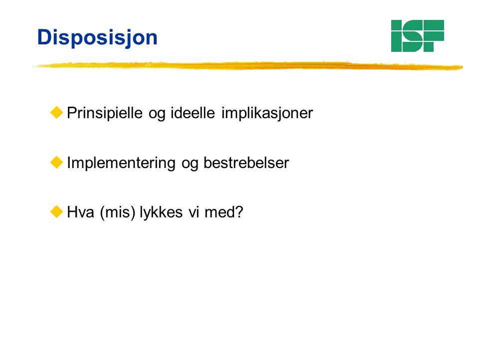 Disposisjon uPrinsipielle og ideelle implikasjoner uImplementering og bestrebelser uHva (mis) lykkes vi med