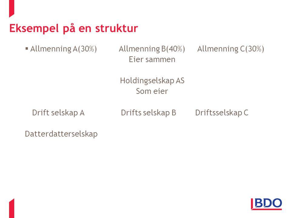 Eksempel på en struktur  Allmenning A(30%) Allmenning B(40%) Allmenning C(30%) Eier sammen Holdingselskap AS Som eier Drift selskap A Drifts selskap
