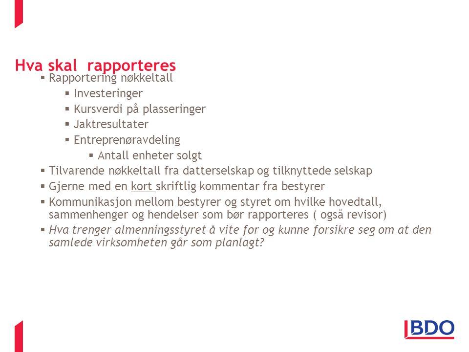 Hva skal rapporteres  Rapportering nøkkeltall  Investeringer  Kursverdi på plasseringer  Jaktresultater  Entreprenøravdeling  Antall enheter sol