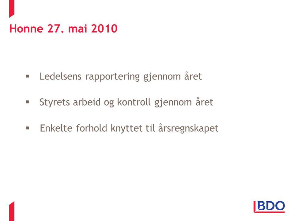 Honne 27. mai 2010  Ledelsens rapportering gjennom året  Styrets arbeid og kontroll gjennom året  Enkelte forhold knyttet til årsregnskapet 27.05.2