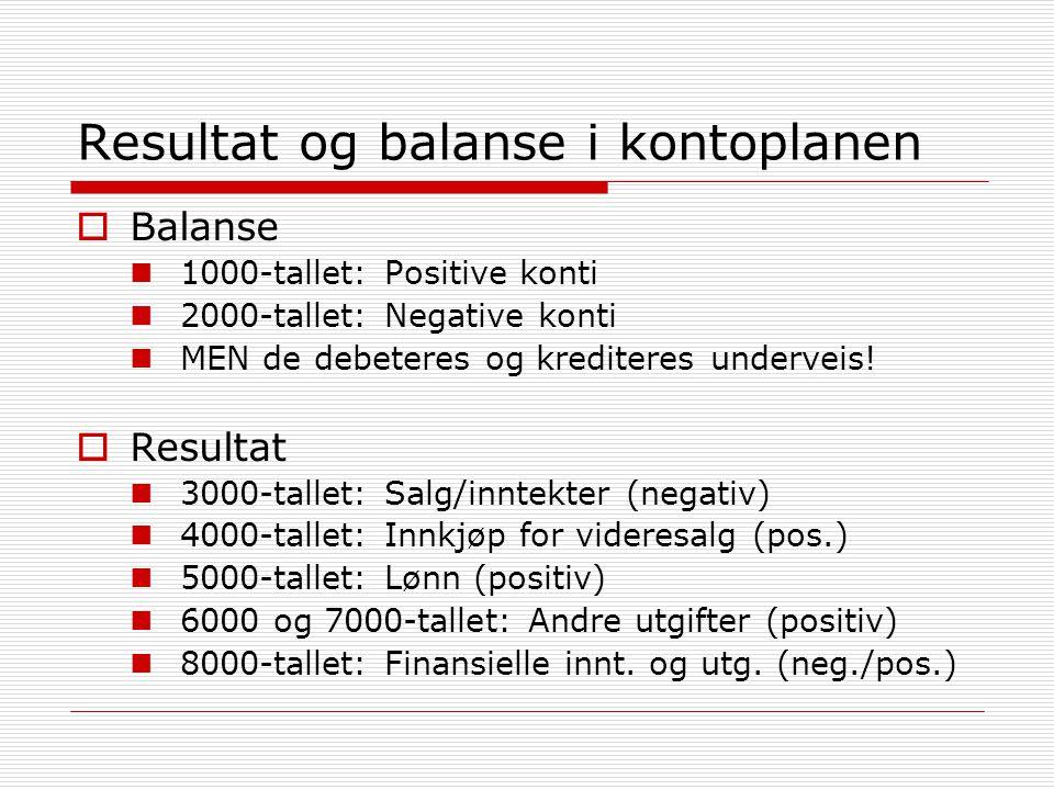 Resultat og balanse i kontoplanen  Balanse  1000-tallet: Positive konti  2000-tallet: Negative konti  MEN de debeteres og krediteres underveis! 