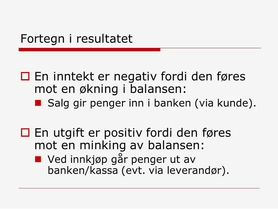 Fortegn i resultatet  En inntekt er negativ fordi den føres mot en økning i balansen:  Salg gir penger inn i banken (via kunde).  En utgift er posi