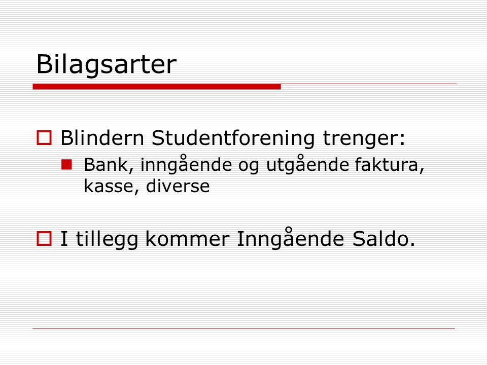 Bilagsarter  Blindern Studentforening trenger:  Bank, inngående og utgående faktura, kasse, diverse  I tillegg kommer Inngående Saldo.
