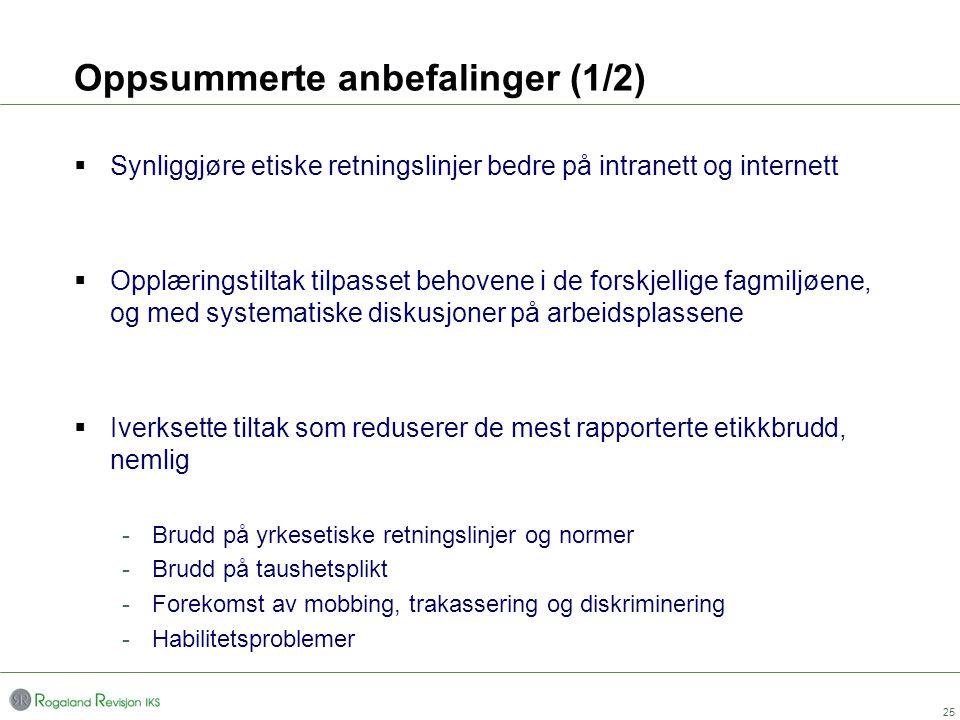 Oppsummerte anbefalinger (1/2)  Synliggjøre etiske retningslinjer bedre på intranett og internett  Opplæringstiltak tilpasset behovene i de forskjel