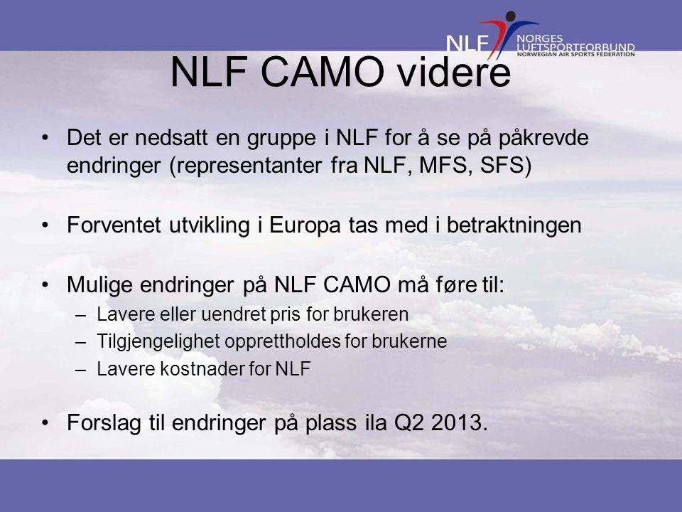 NLF CAMO videre •Det er nedsatt en gruppe i NLF for å se på påkrevde endringer (representanter fra NLF, MFS, SFS) •Forventet utvikling i Europa tas med i betraktningen •Mulige endringer på NLF CAMO må føre til: –Lavere eller uendret pris for brukeren –Tilgjengelighet opprettholdes for brukerne –Lavere kostnader for NLF •Forslag til endringer på plass ila Q2 2013.