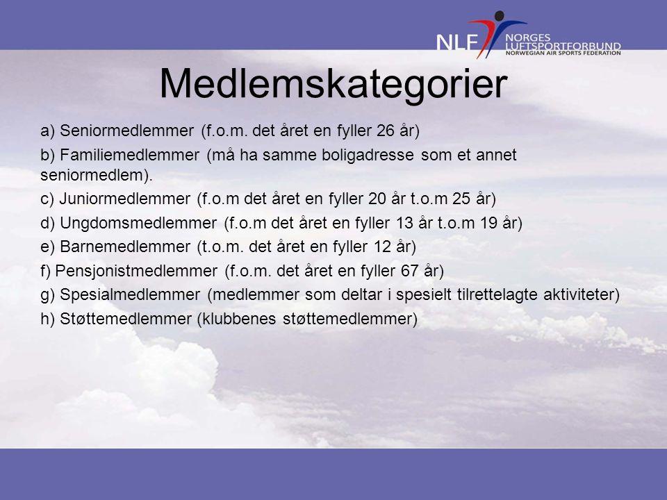Medlemskategorier a) Seniormedlemmer (f.o.m.