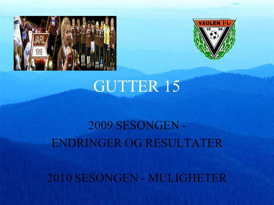 GUTTER 15 2009 SESONGEN - ENDRINGER OG RESULTATER 2010 SESONGEN - MULIGHETER
