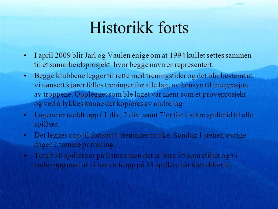 Historikk forts •I april 2009 blir Jarl og Vaulen enige om at 1994 kullet settes sammen til et samarbeidsprosjekt hvor begge navn er representert.