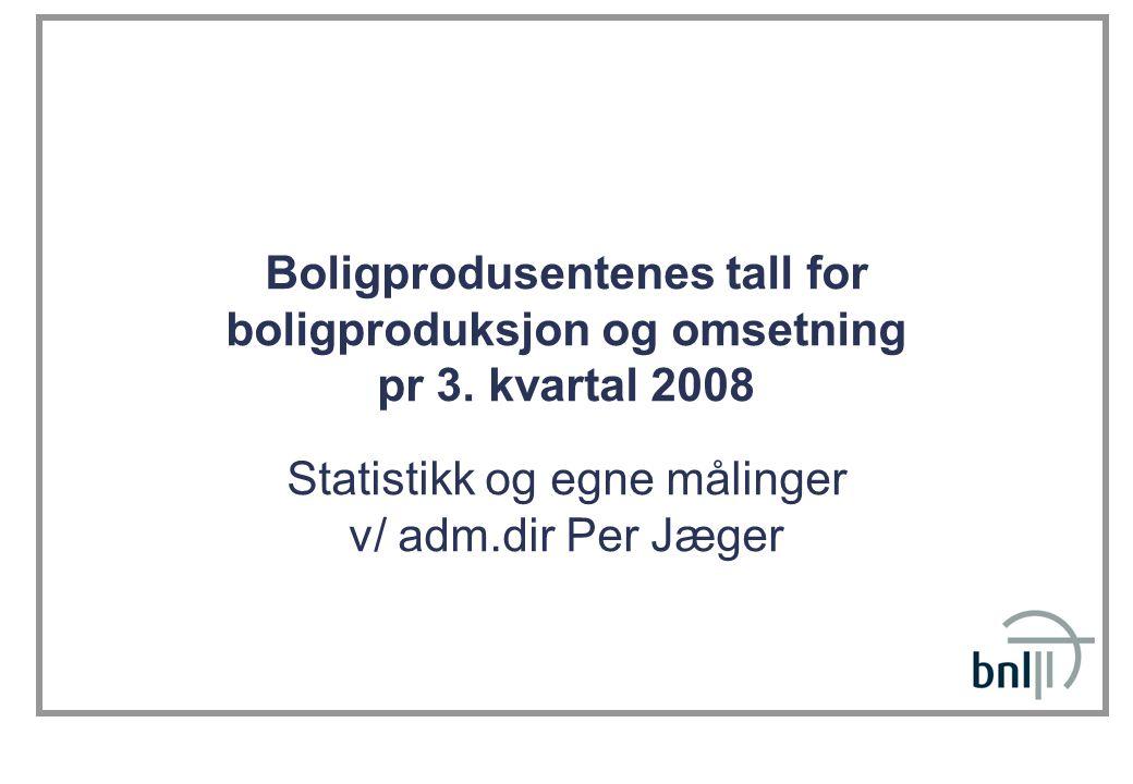 Boligprodusentenes tall for boligproduksjon og omsetning pr 3. kvartal 2008 Statistikk og egne målinger v/ adm.dir Per Jæger