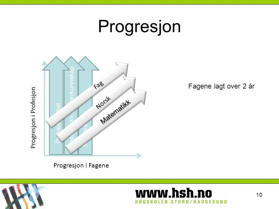 10 Progresjon i Profesjon Progresjon i Fagene Møteplasser Pedagogikk og elevkunnskap Praksis studiet Matematikk Norsk Fag Fagene lagt over 2 år