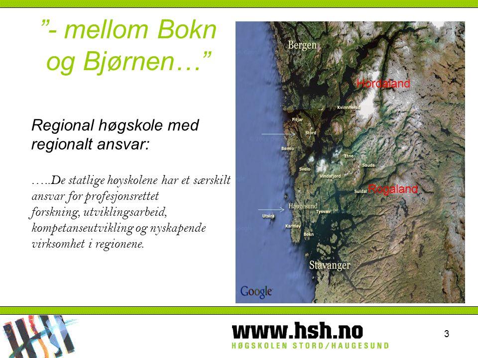 3 - mellom Bokn og Bjørnen… Regional høgskole med regionalt ansvar: …..De statlige høyskolene har et særskilt ansvar for profesjonsrettet forskning, utviklingsarbeid, kompetanseutvikling og nyskapende virksomhet i regionene.