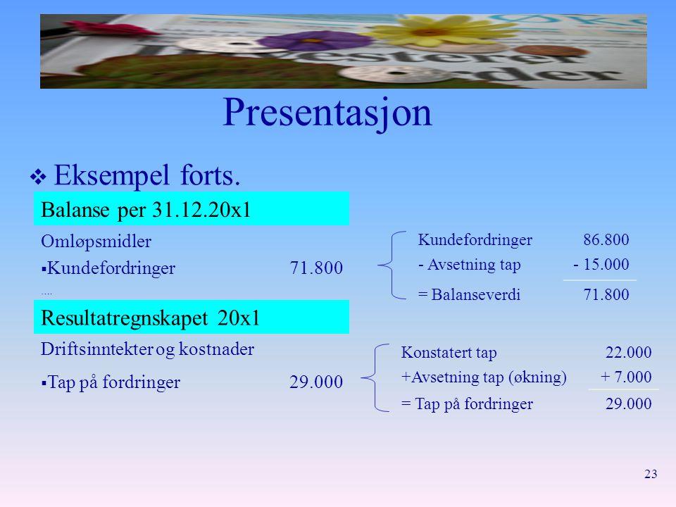 23 Presentasjon  Eksempel forts. Balanse per 31.12.20x1 Omløpsmidler  Kundefordringer71.800 …. Resultatregnskapet 20x1 Driftsinntekter og kostnader