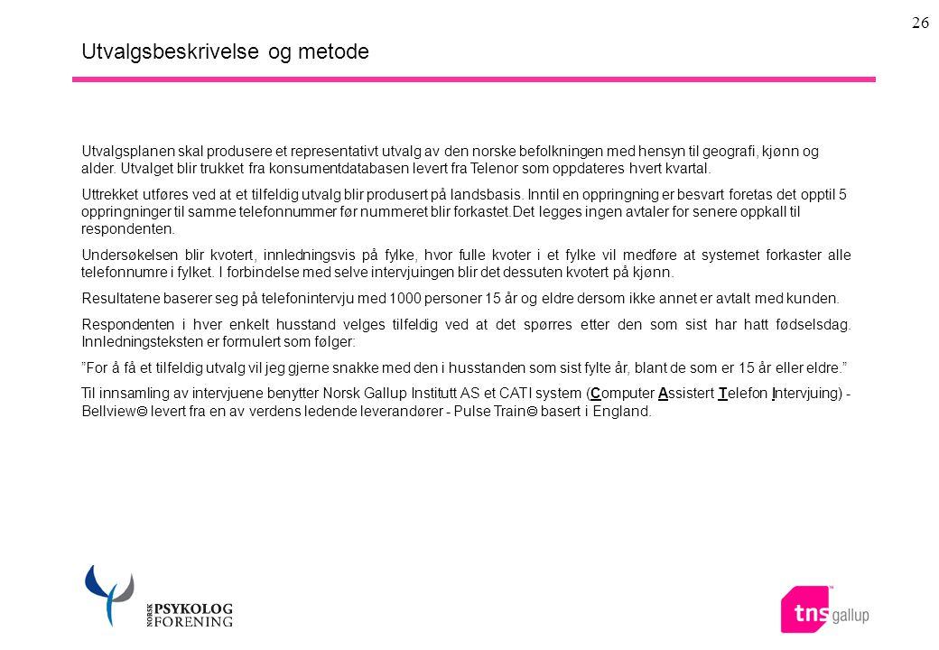 26 Utvalgsbeskrivelse og metode Utvalgsplanen skal produsere et representativt utvalg av den norske befolkningen med hensyn til geografi, kjønn og ald