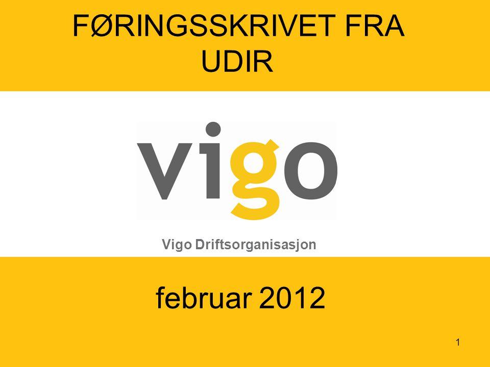 februar 2012 Vigo Driftsorganisasjon FØRINGSSKRIVET FRA UDIR 1