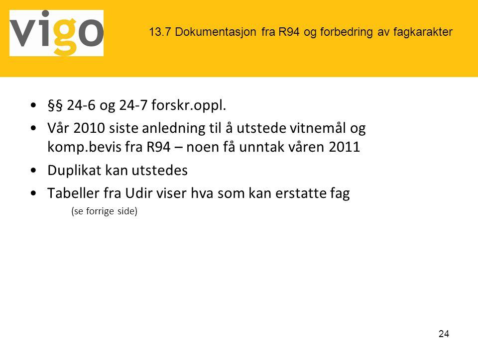 •§§ 24-6 og 24-7 forskr.oppl. •Vår 2010 siste anledning til å utstede vitnemål og komp.bevis fra R94 – noen få unntak våren 2011 •Duplikat kan utstede