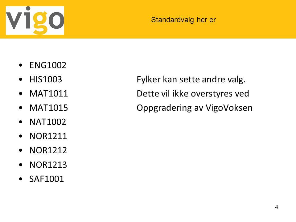 •ENG1002 •HIS1003Fylker kan sette andre valg. •MAT1011Dette vil ikke overstyres ved •MAT1015Oppgradering av VigoVoksen •NAT1002 •NOR1211 •NOR1212 •NOR