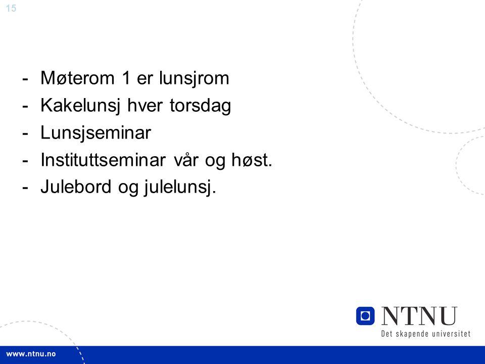 15 -Møterom 1 er lunsjrom -Kakelunsj hver torsdag -Lunsjseminar -Instituttseminar vår og høst. -Julebord og julelunsj.