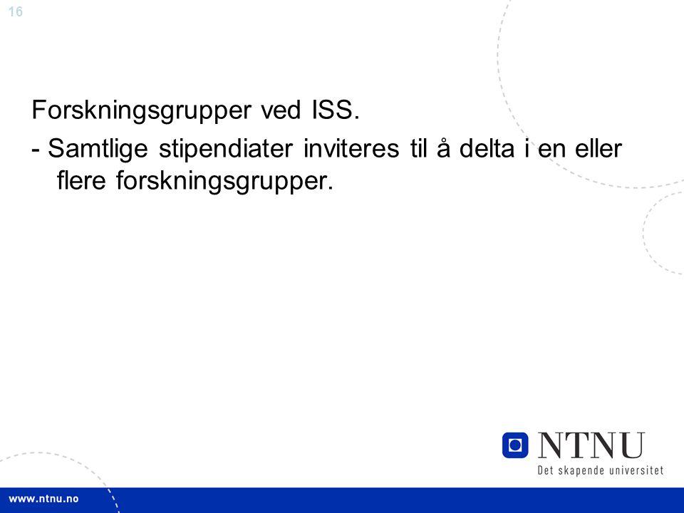 16 Forskningsgrupper ved ISS. - Samtlige stipendiater inviteres til å delta i en eller flere forskningsgrupper.
