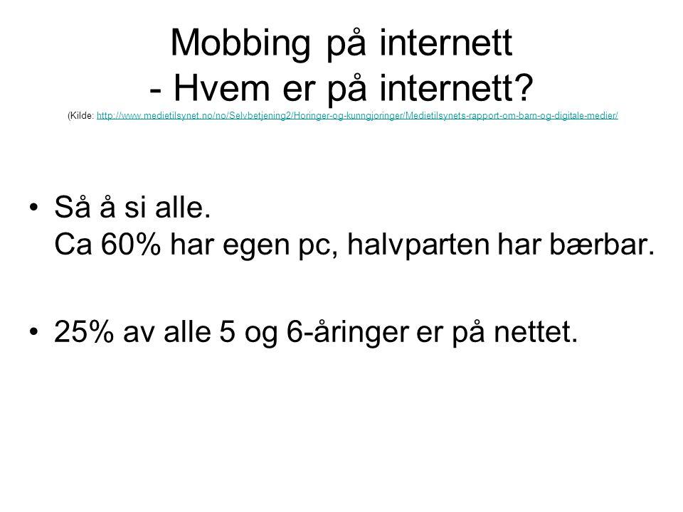 Mobbing på internett - Hvem er på internett.