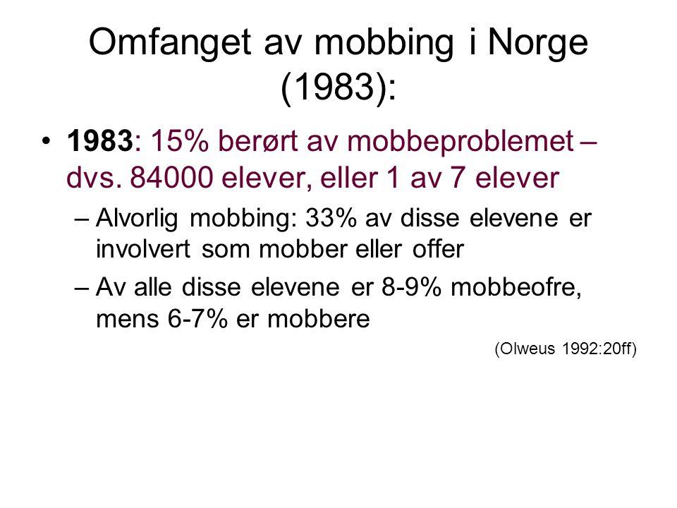 Omfanget av mobbing i Norge (1983): •1983: 15% berørt av mobbeproblemet – dvs.