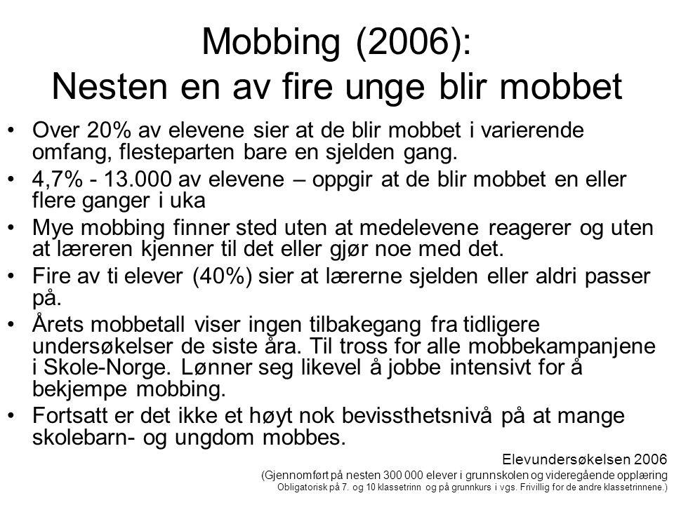 Mobbing (2006): Nesten en av fire unge blir mobbet •Over 20% av elevene sier at de blir mobbet i varierende omfang, flesteparten bare en sjelden gang.