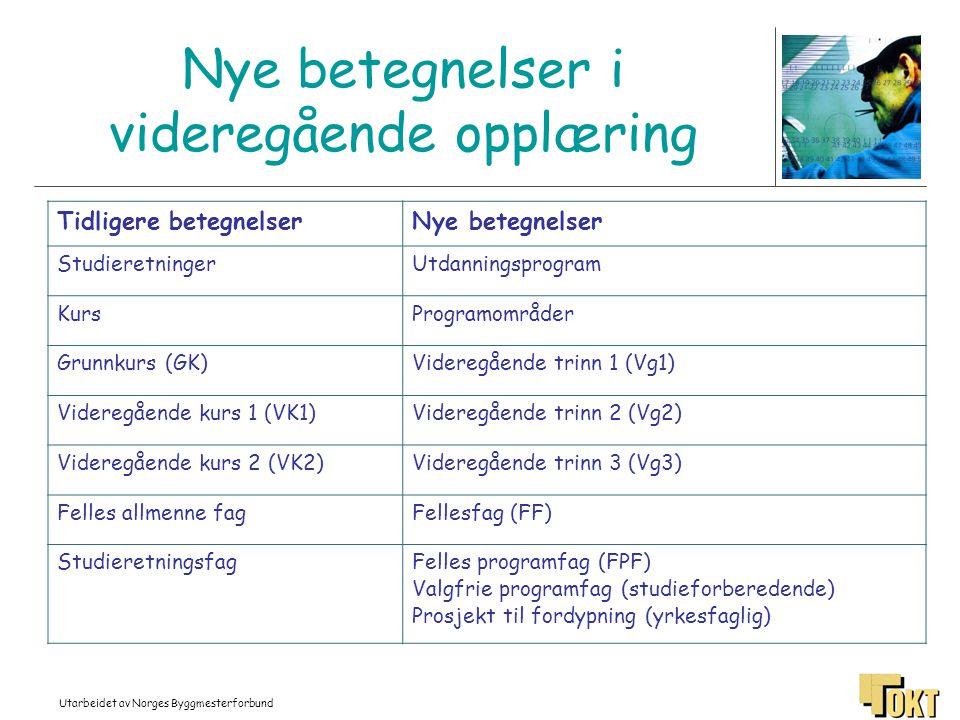 Utarbeidet av Norges Byggmesterforbund Nye betegnelser i videregående opplæring Tidligere betegnelserNye betegnelser StudieretningerUtdanningsprogram