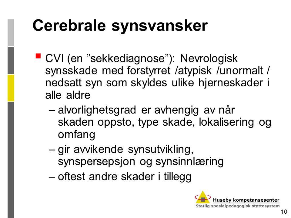 "10 Cerebrale synsvansker  CVI (en ""sekkediagnose""): Nevrologisk synsskade med forstyrret /atypisk /unormalt / nedsatt syn som skyldes ulike hjerneska"